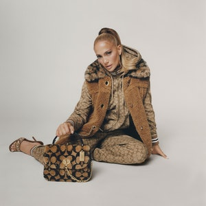 Jennifer Lopez wear pieces from the Jennifer Lopez X Coach collaboration.