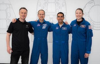 Left to right: ESA astronaut Matthias Maurer with NASA astronauts Thomas Marshburn, Raja Chari, and ...