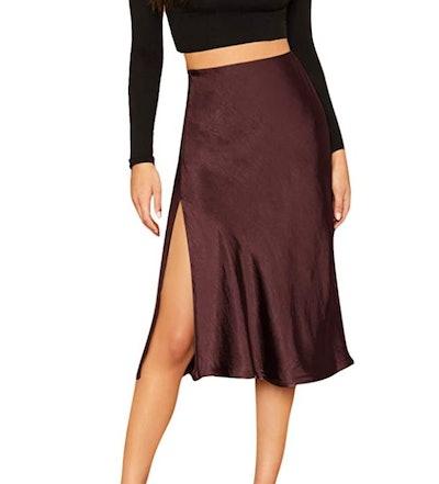 SheIn Satin Split Side Mid Waist Midi Skirt
