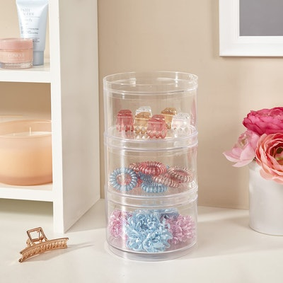 STORi Stackable Clear Plastic Hair Accessory Containers with Lids (Set of 3)