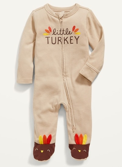 Unisex Sleep & Play Thanksgiving-Graphic Footed One-Piece for Baby