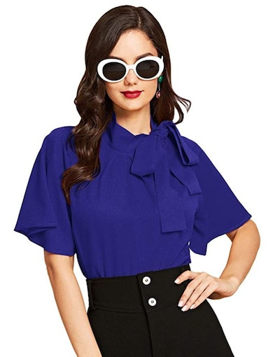 SheIn Side Bow Tie Short Sleeve Blouse