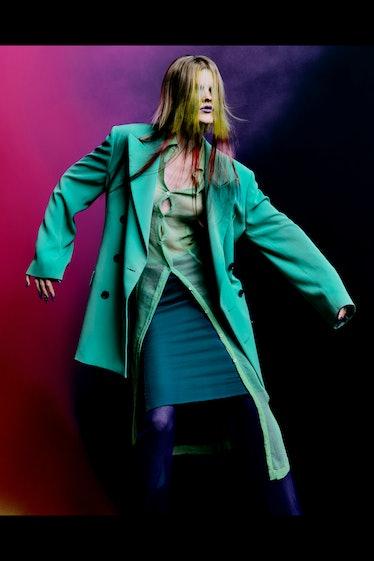 model in teal look from Dries Van Noten