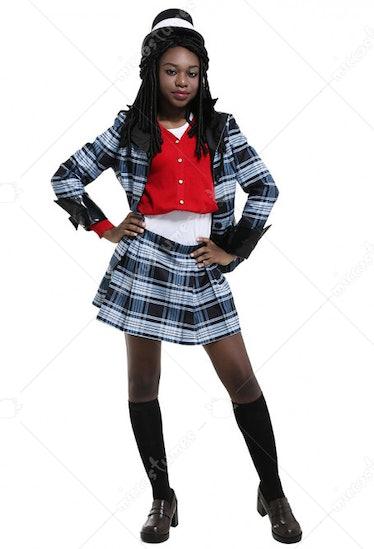 Clueless Adult Women's Vintage 1990s Fancy Girl Black Plaid Schoolgirl Costume For Halloween Party