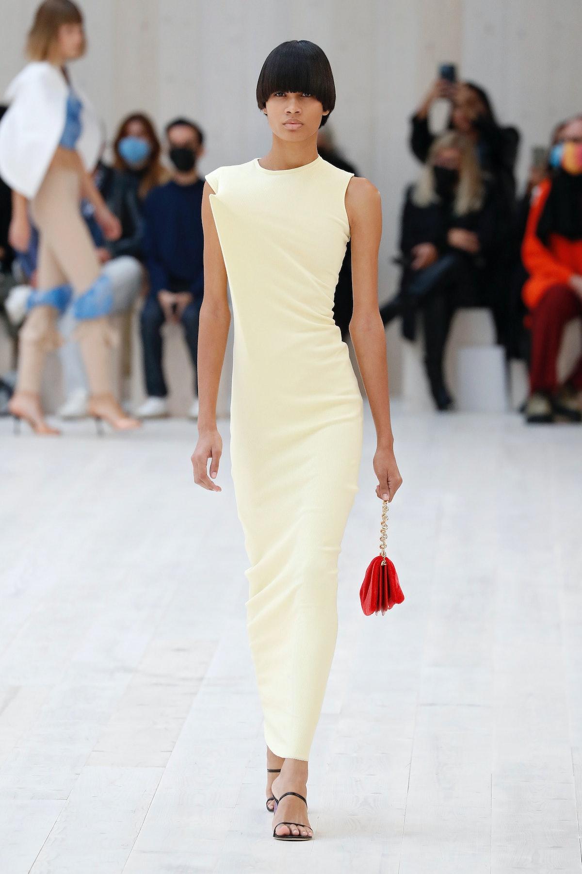 Model walks in Loewe spring 2022 Show at Paris Fashion Week.