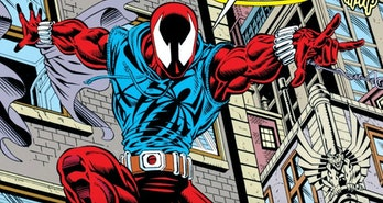 Ben Reilly soars through the air as the Scarlet Spider in Web of Spider-Man Vol. 1 #118