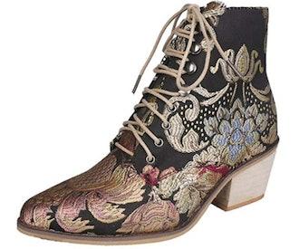 Gets Vintage Floral Embroidered Block Heel Ankle Bootie
