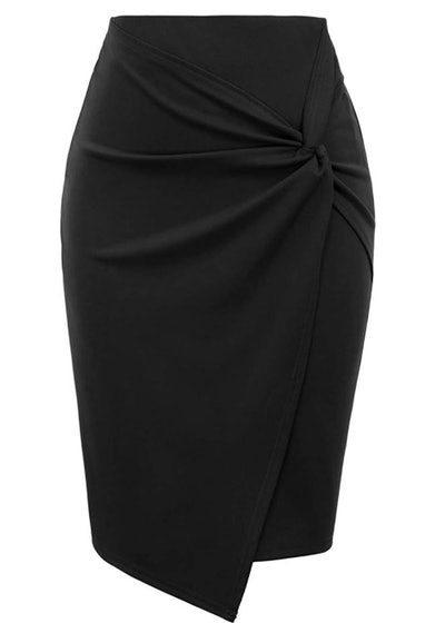 Kate Kasin High Waist Wrap Front Pencil Skirt