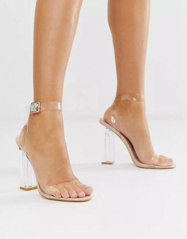 clear strap heels