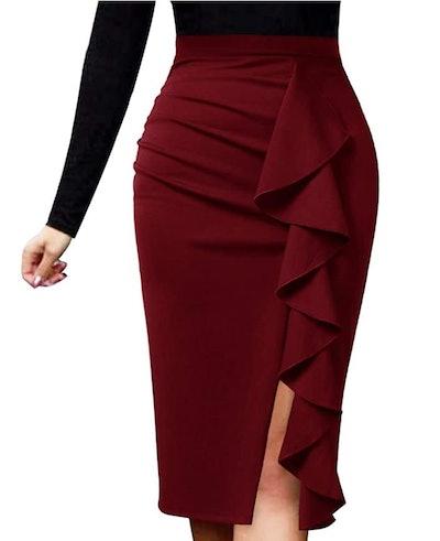 Vfshow Ruffle Slit Pencil Skirt
