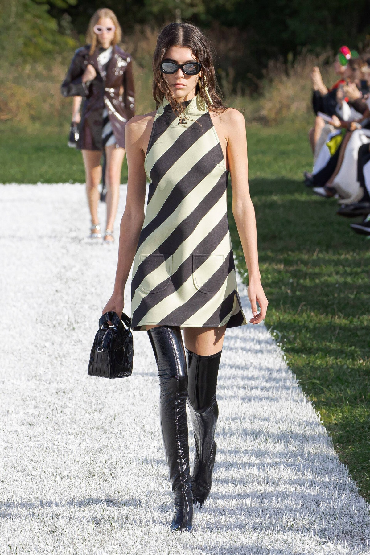 model in striped Courreges dress