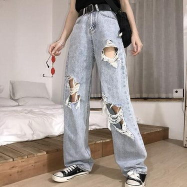 Women's High Waisted Ripped Loose Jeans