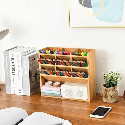 Marbrasse Bamboo Art Supply Desk Organizer