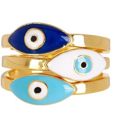 Sterling Forever Evil Eye Ring Set