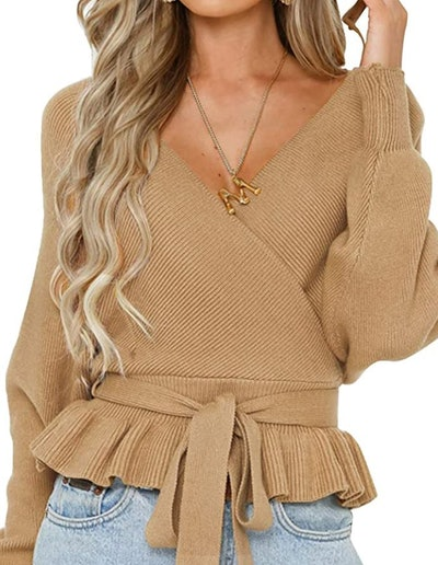 ZESICA Wrap V Neck Knitted Sweater Top