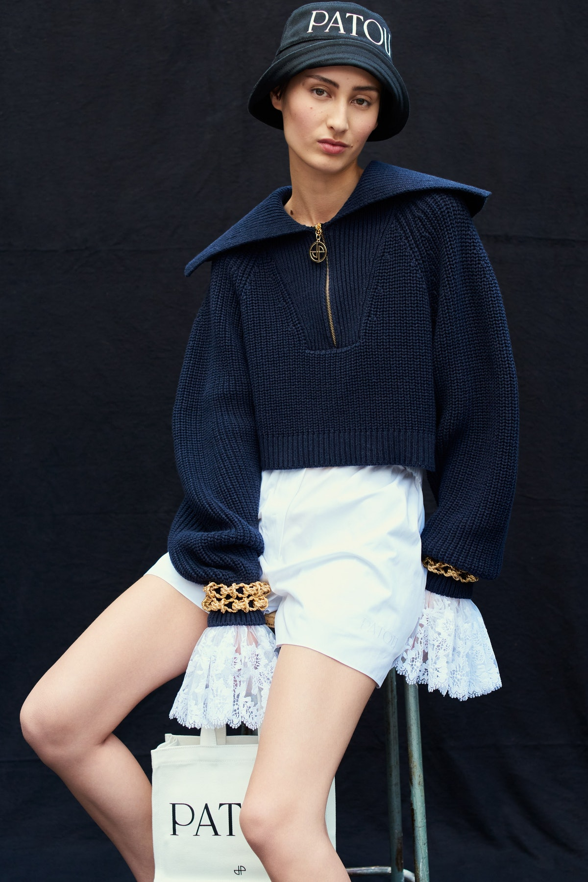 Model wears look from Patou's Spring 2022 collection.