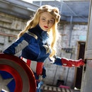 Lucy Saxon dressed as Captain America