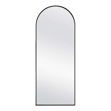 70-Inch x 28-Inch Arched Top Leaner Mirror in Black