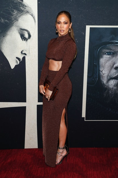Jennifer Lopez wears brown two-piece outfit on October 09, 2021 in New York City.