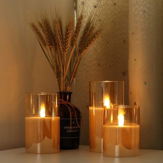 GenSwin Gold Glass Battery Operated Flameless Candles (Set of 3)