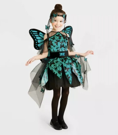 Girl wearing a garden fairy costume