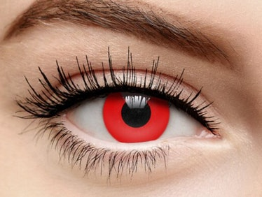 Red colored contacts help create the robot doll's look from 'Squid Game.'