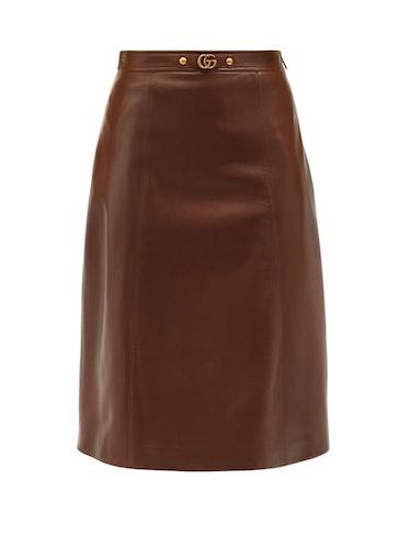 Gucci GG-Plaque Leather Midi Skirt