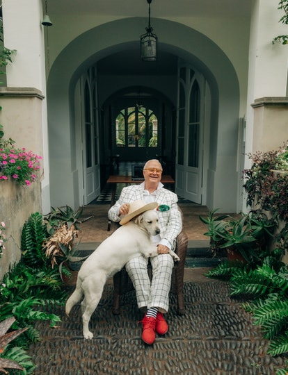 Manolo Blahnik wears his own clothing and accessories.