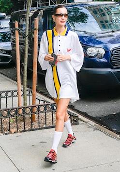 Bella Hadid is seen in Soho on October 8, 2021 in New York City.