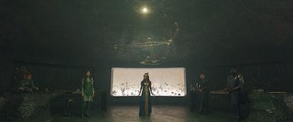 Sprite (Lia McHugh), Sersi (Gemma Chan), Ajak (Salma Hayek), Druig (Barry Keoghan), and Phastos (Bri...