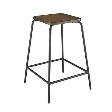 Wood and Metal Stacking Counter Stool in Brown/Black