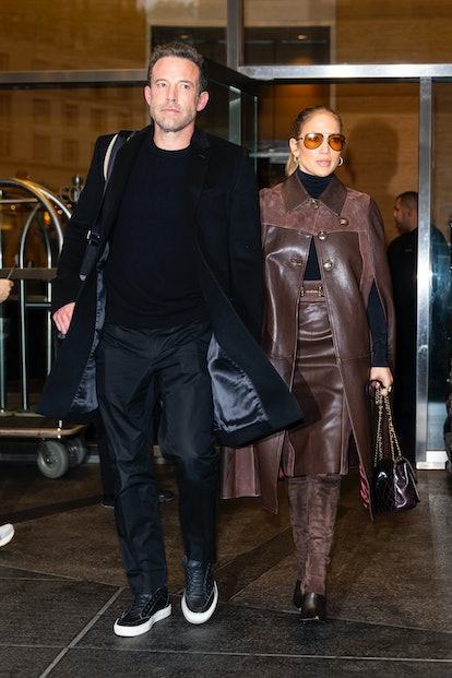 Jennifer Lopez wearing a brown outfit on October 10, 2021 in New York City.