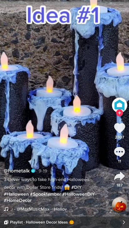 A woman shows off her best dollar store decor hacks for Halloween with DIY creepy candle sets.