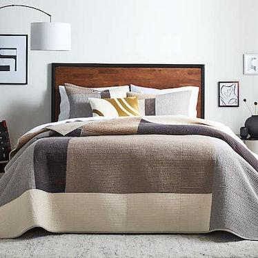 Modern Patchwork 3-Piece Quilt Set in Grey/Taupe