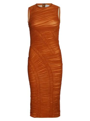 Hervé Léger Brown Draped Jersey Dress