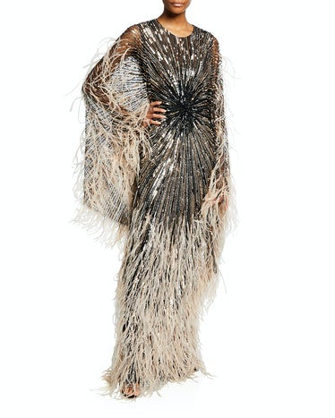 Sequin and Feather Tulle Gown from Pamella Roland, available to shop on Neiman Marcus.