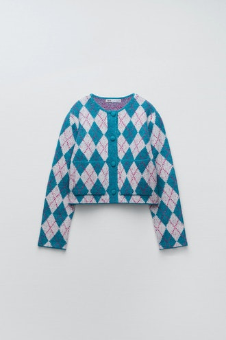 Zara Argyle Knit Jacquard Cardigan