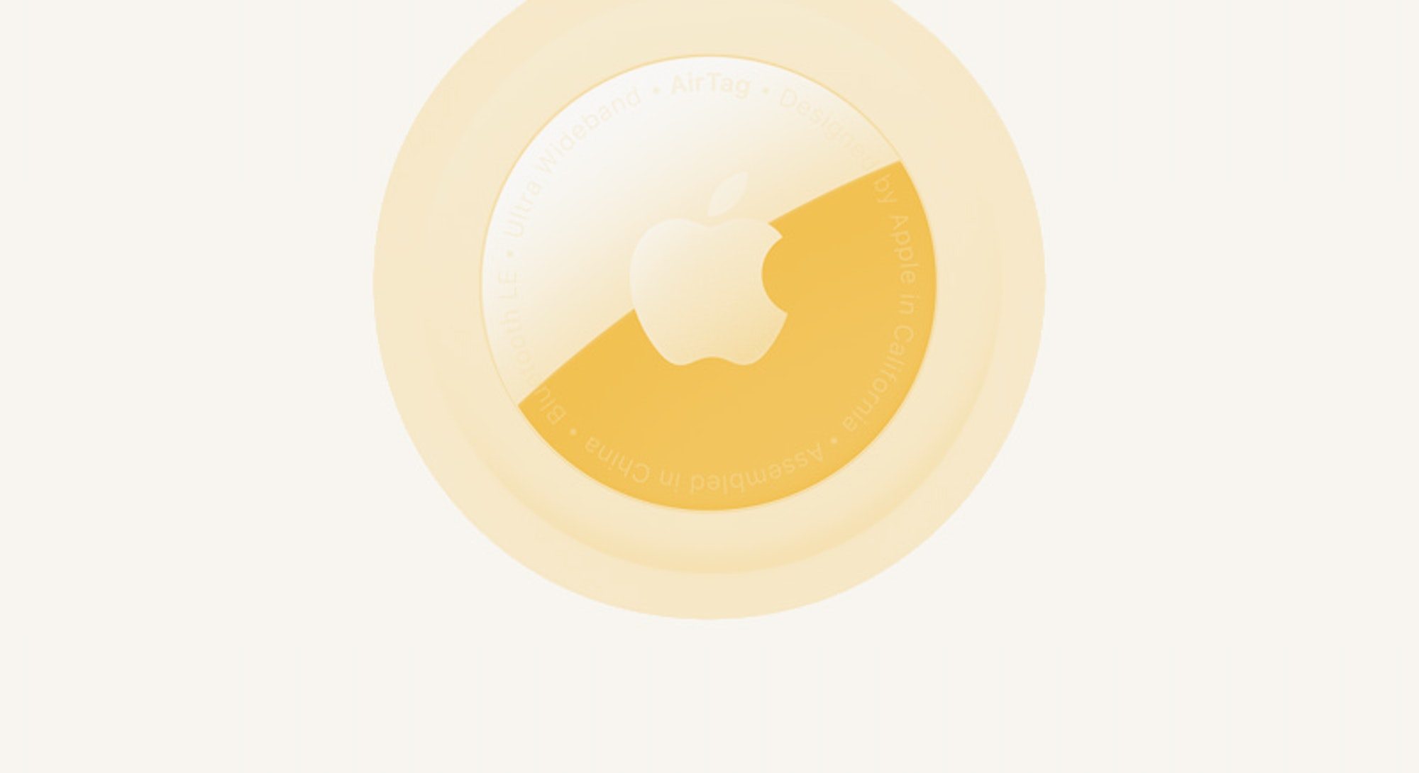 Apple AirTag tracker for iOS in yellow.