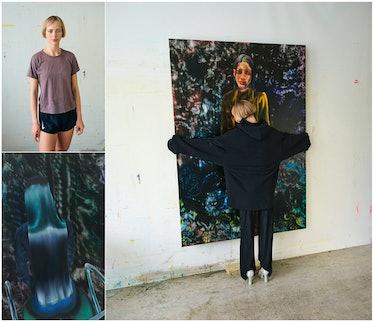 Painter Rute Merk poses in with her paintings.