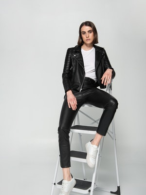 Dauntless vegan leather jacket and shoes