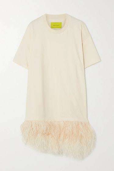 Feather-trimmed organic cotton-jersey T-shirt from Marques Almeida, available to shop via Net-a-Port...