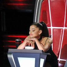 Ariana Grande cried on 'The Voice' as she eliminated her first contestant. Photo via Trae Patton/NBC
