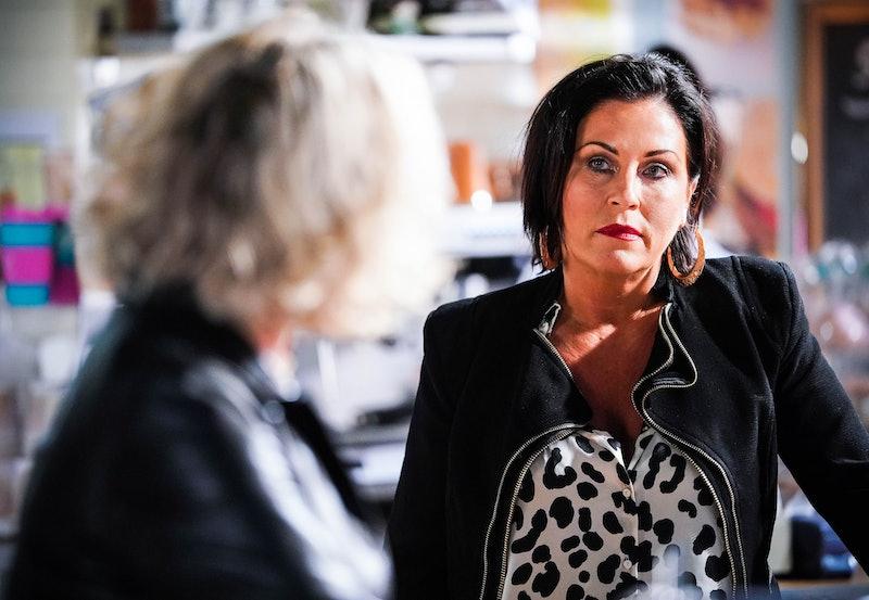 Janine Butcher (CHARLIE BROOKS), Kat Moon (JESSIE WALLACE) in 'Eastenders'.