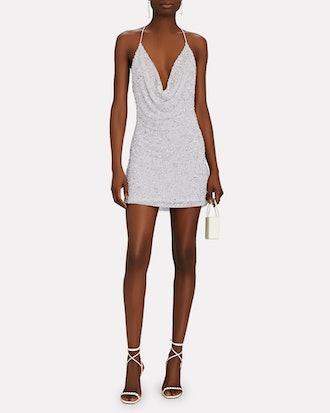 Mich Sequin Cowl Neck Mini Dress