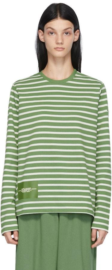 Green & White 'The Striped T-Shirt' Long Sleeve T-Shirt