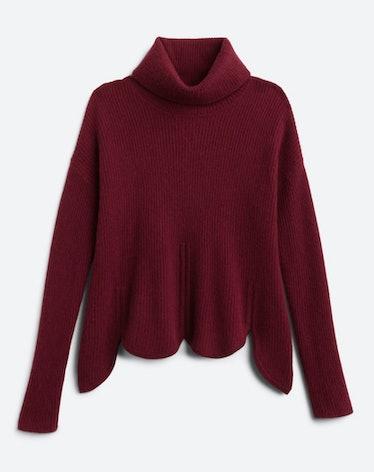 Chloe Kristin's burgundy scallop sweater.
