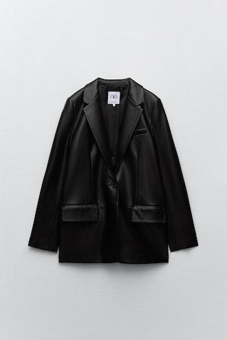 Faux Leather Blazer Zara