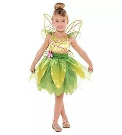little girl in a tinker bell fairy costume