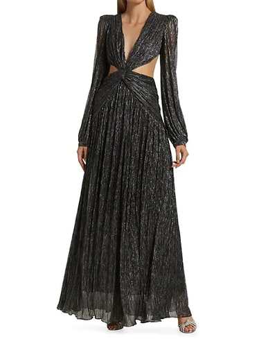 Sparkly Plunge Cutout Gown