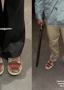Kendall Jenner and Travis Scott wearing Nike Freddy Kruger Dunks